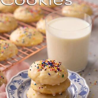 A pinterest graphic of ricotta cookies