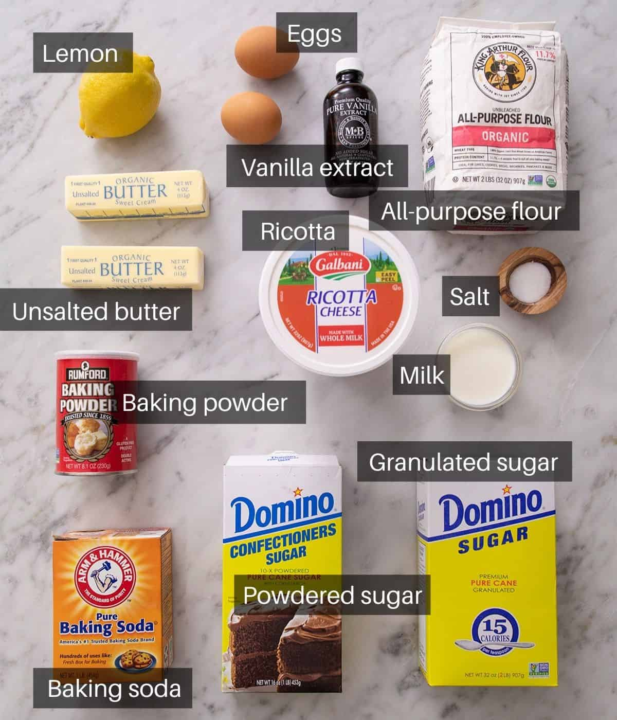 An overhead shot of all the ingredients you need to make ricotta cookies