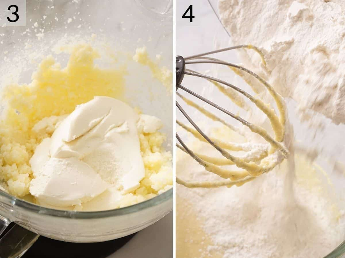 Adding ricotta and flour to the cookie dough