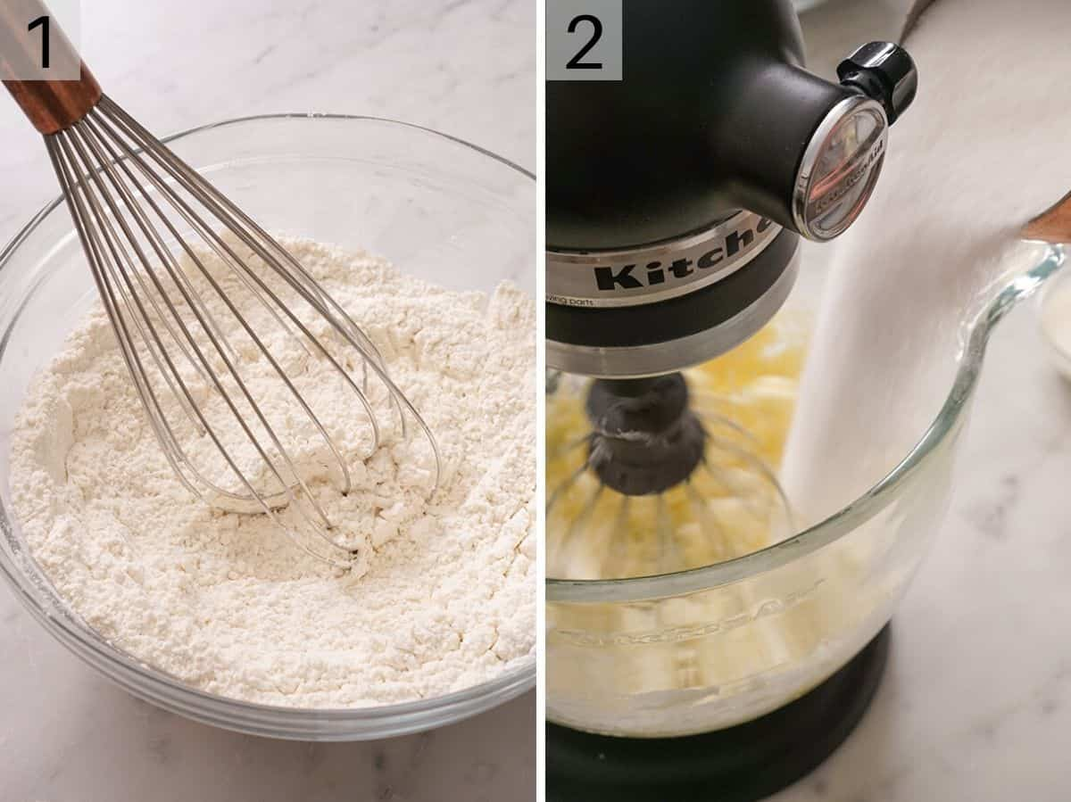 Dry ingredients getting mixed in a bowl and a photo showing how to cream butter and sugar together