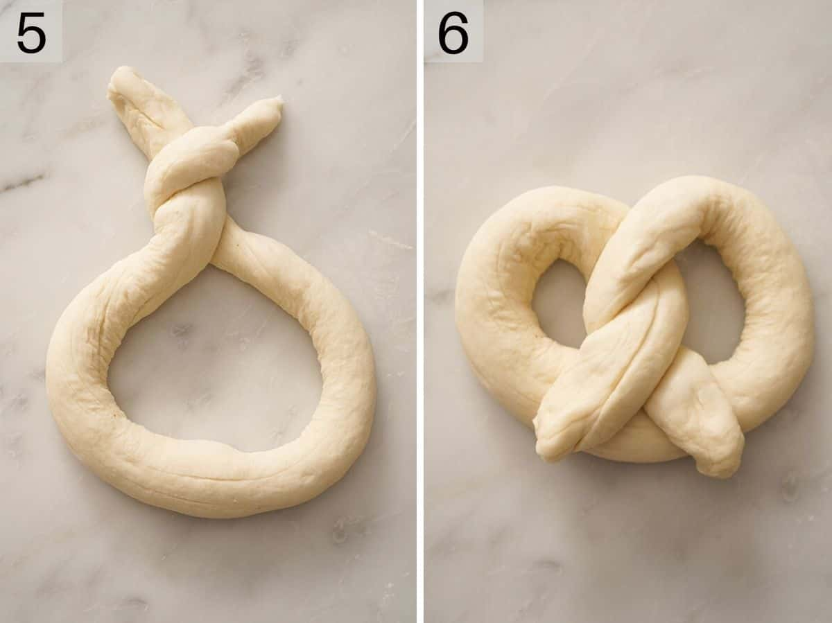 Two photos showing how to shape soft pretzels