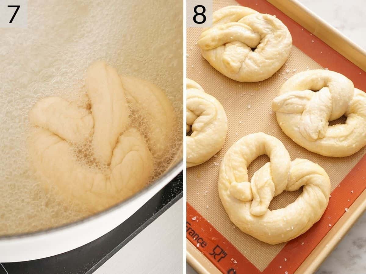 Two photos showing how to boil and then bake pretzels