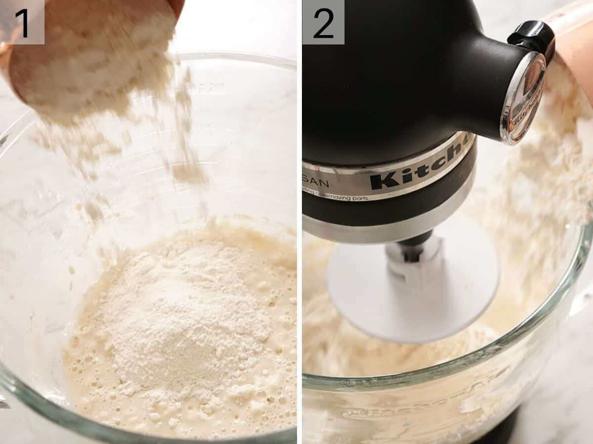 wet and dry ingredients in a mixer