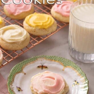 A pinterest graphic of sour cream cookies