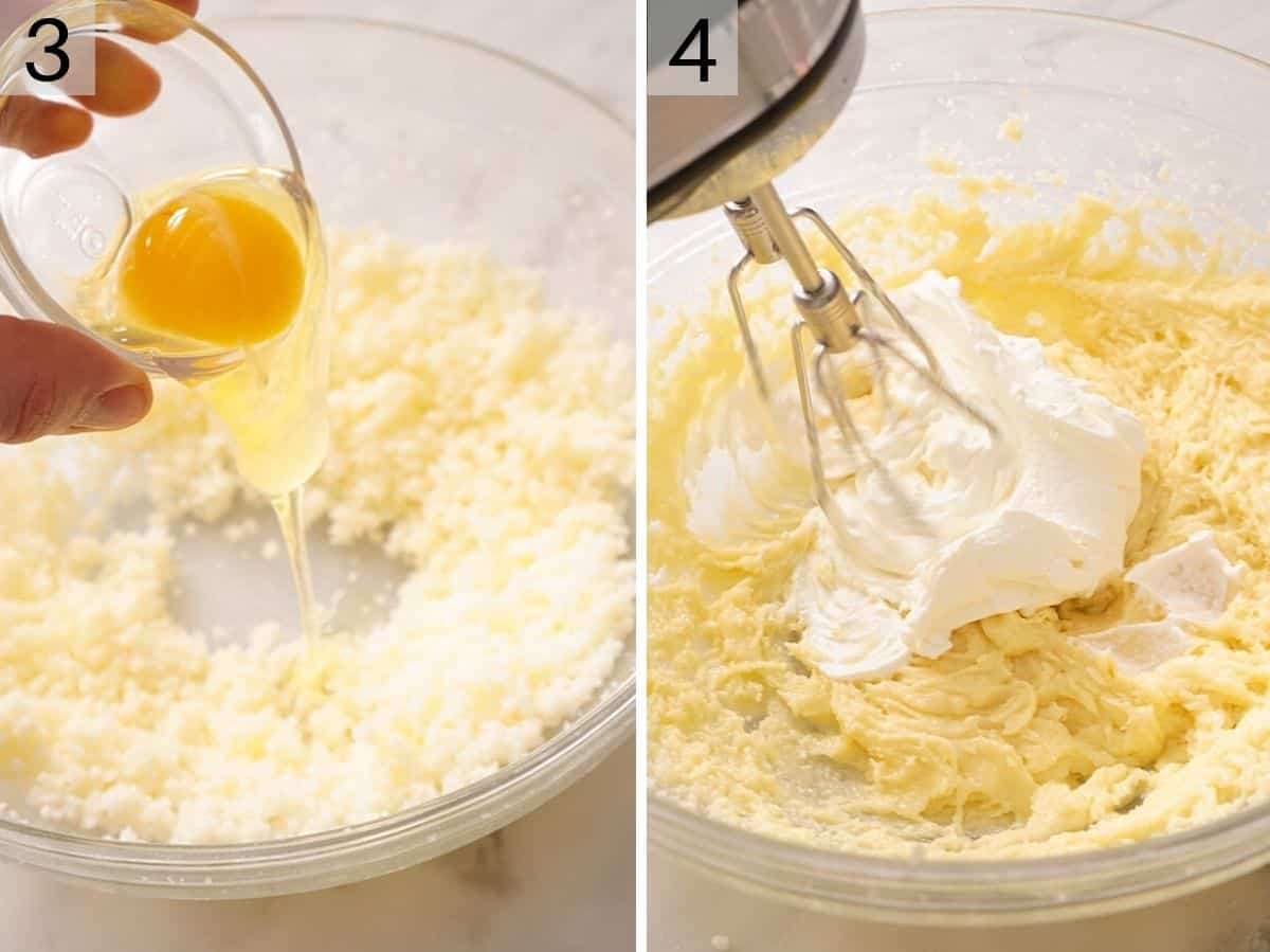 Adding an egg and sour cream to a bowl