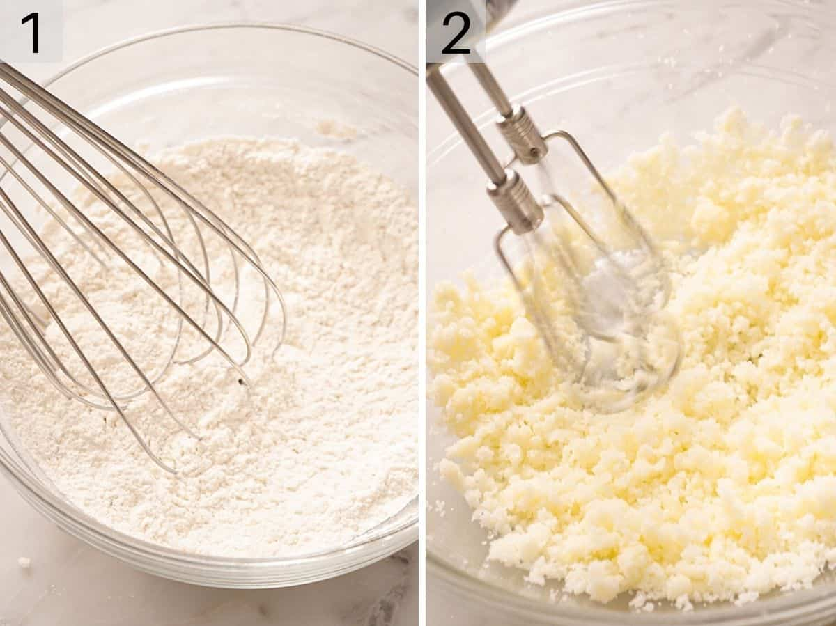 Dry ingredients in a bowl and creaming butter and sugar together in a separate bowl