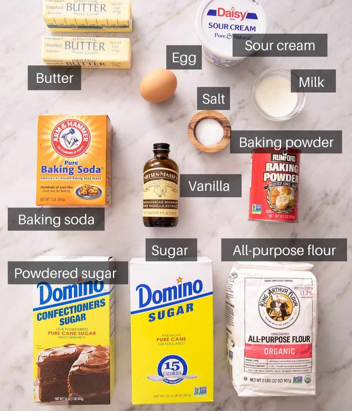 An overhead shot of all the ingredients you need to make sour cream cookies