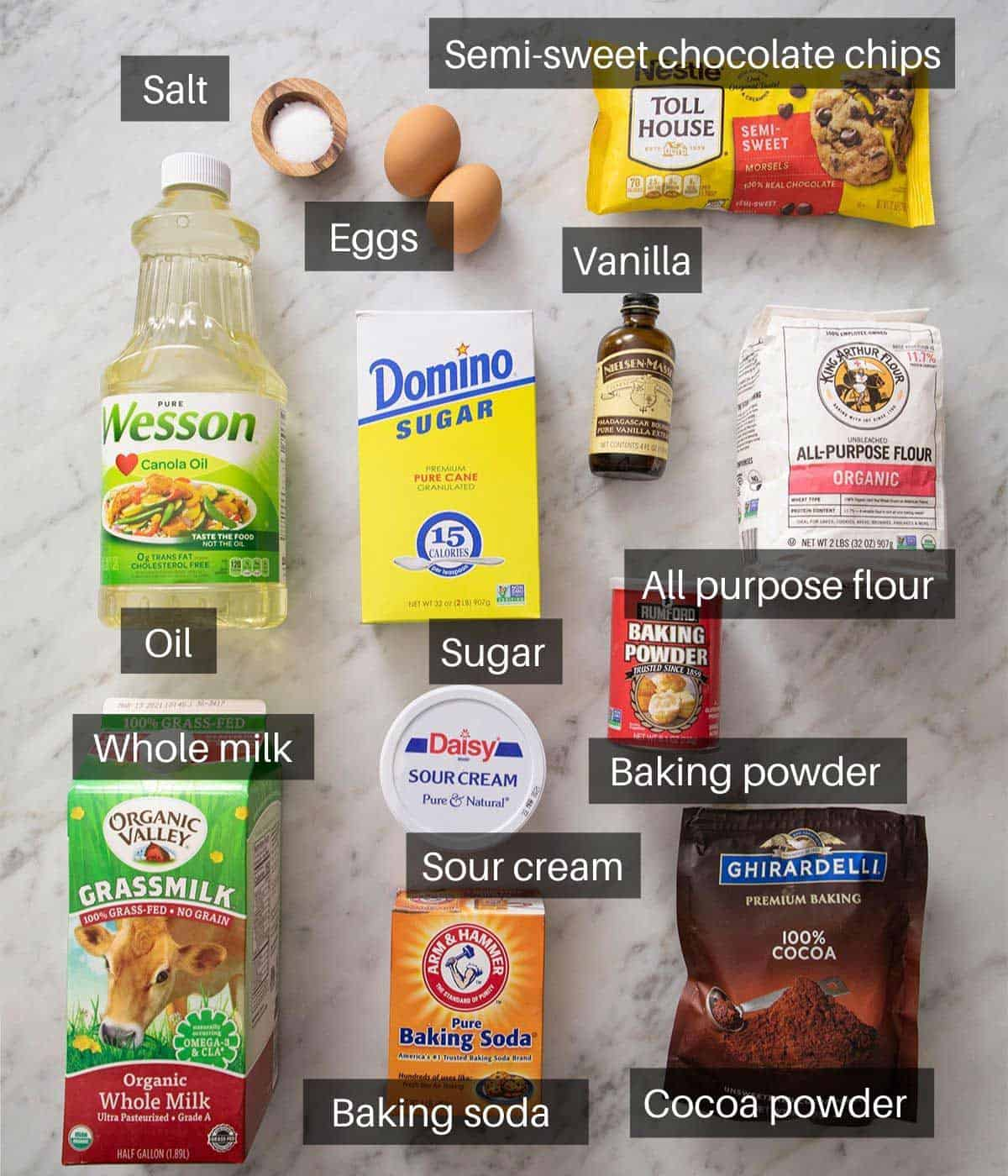 An overhead shot of all the ingredients you need to make chocolate muffins