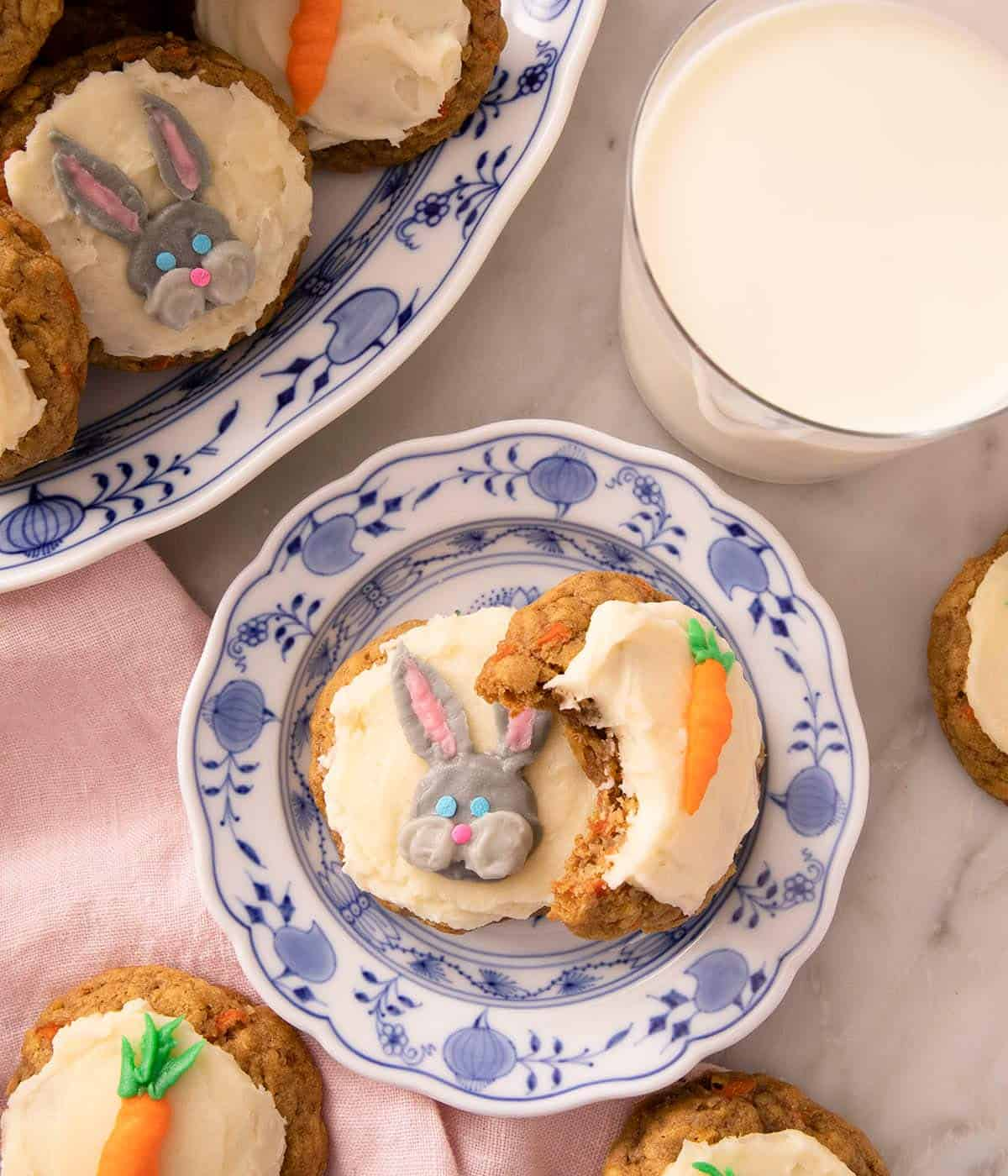 Carrot cake cookies on a blue patterned plate