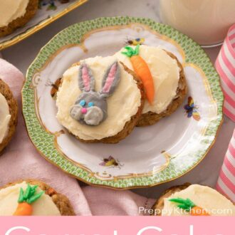 A pinterest graphic of carrot cake cookies