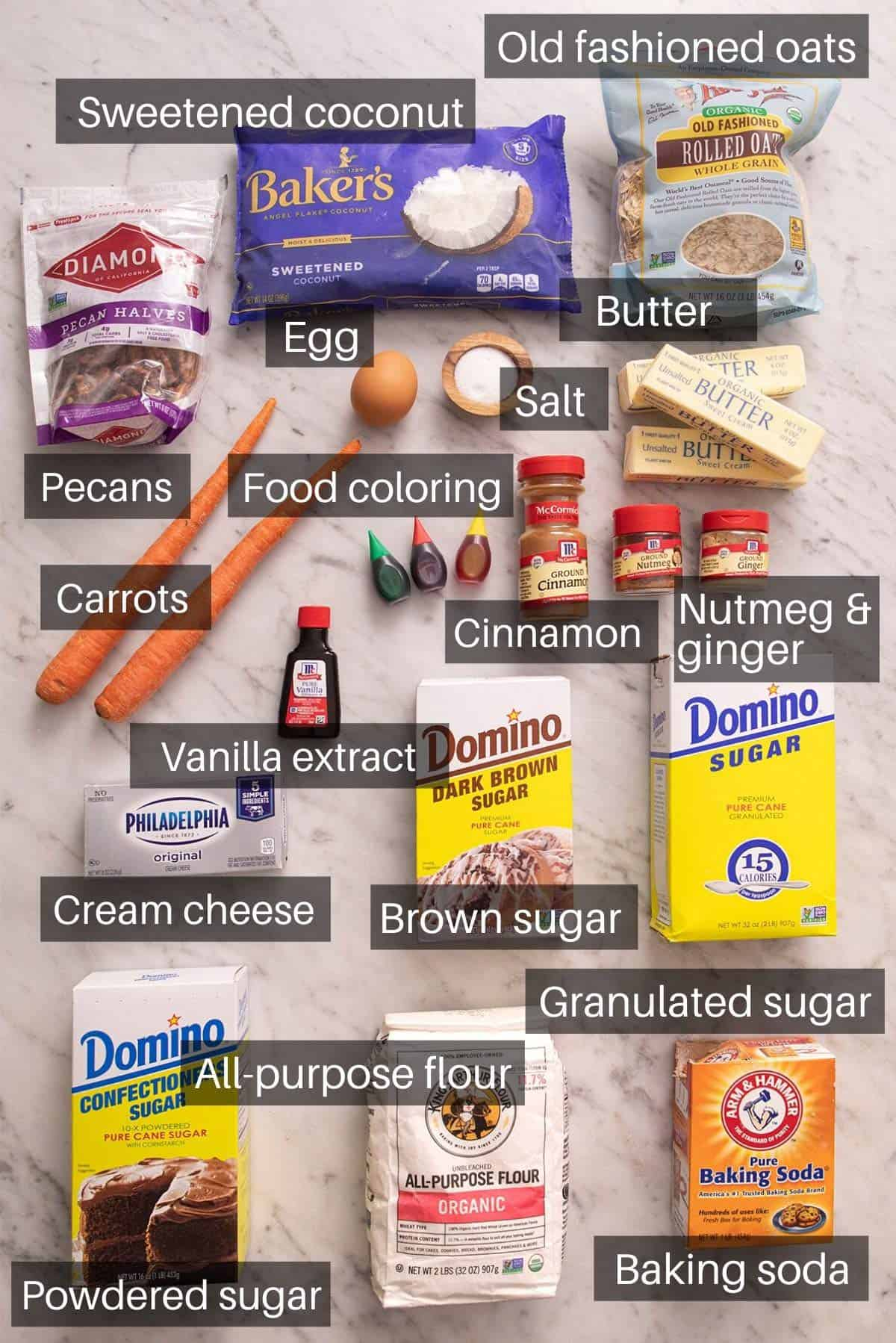 An overhead shot of all the ingredients you need to make carrot cake cookies