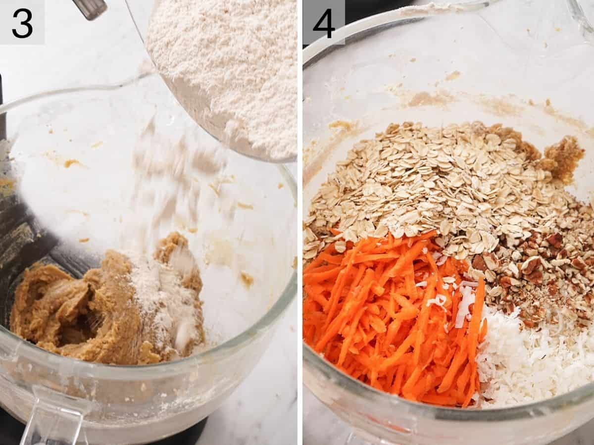Flour getting added to a stand mixer and a bowl with carrots, oats and nuts