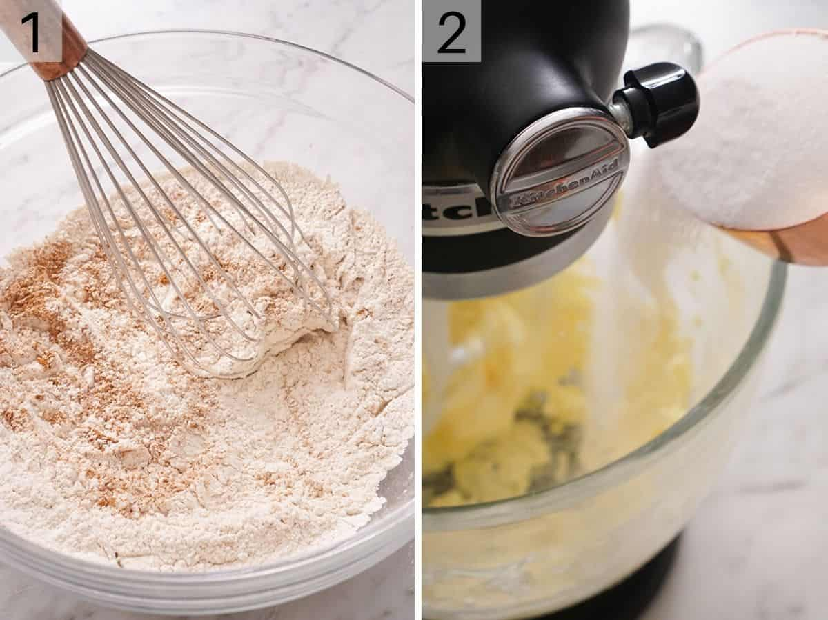 Dry ingredients getting mixed in a bowl and a stand mixer creaming butter and sugar together