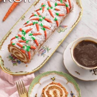 A pinterest graphic of a carrot cake roll