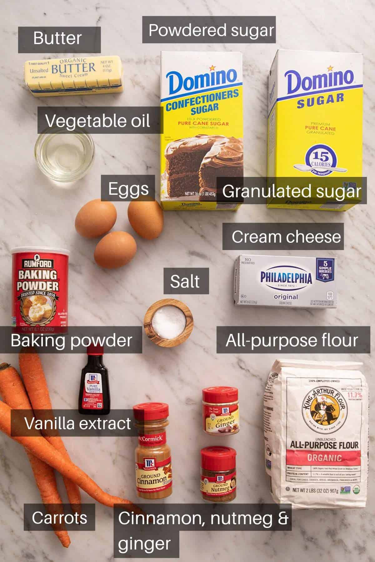 An overhead shot of all the ingredients needed to make a carrot cake roll