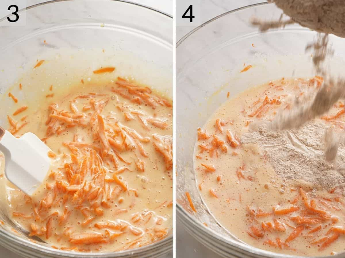 Two photos showing what a carrot cake roll batter