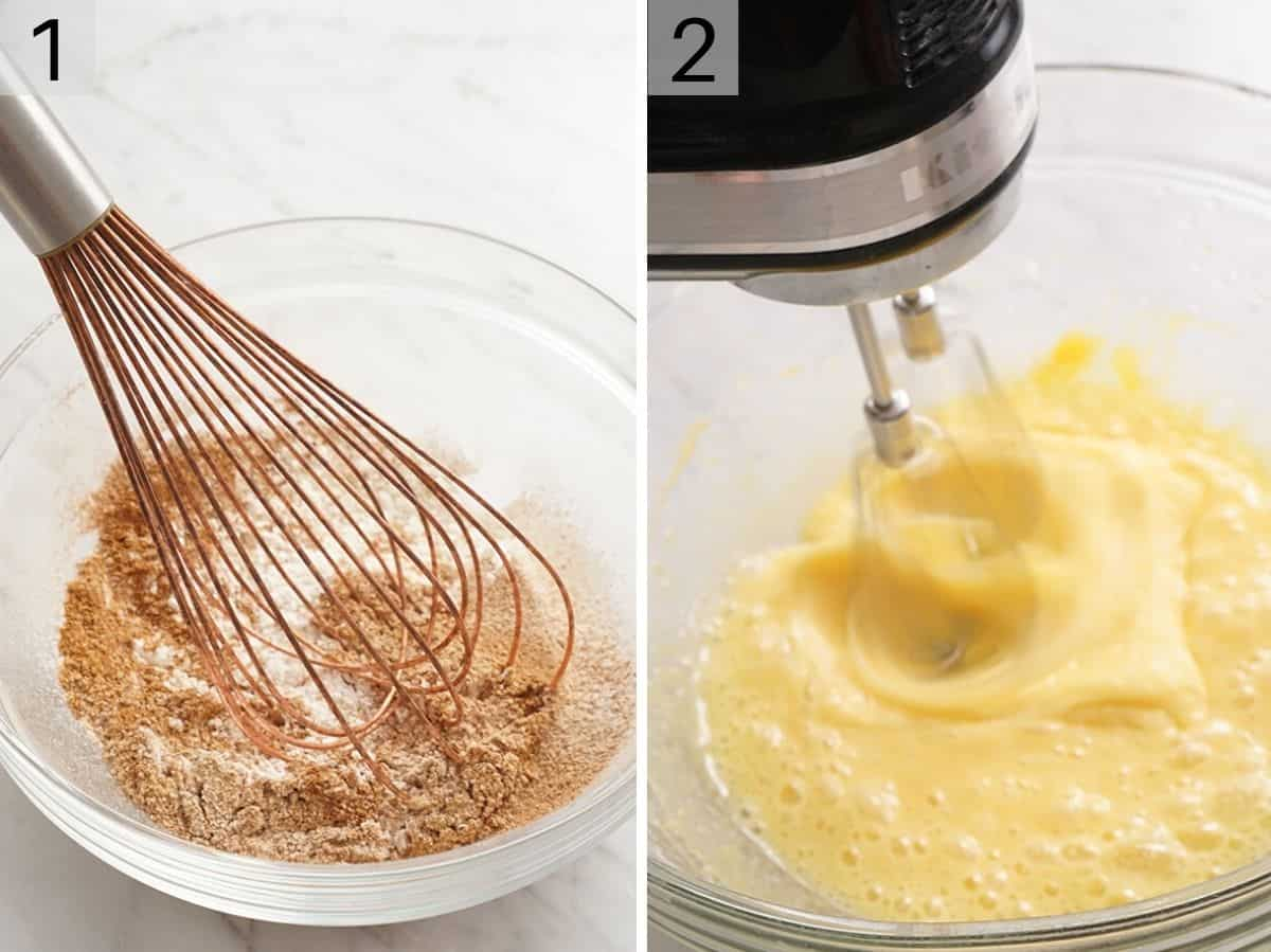 Dry ingredients getting mixed together in a bowl and eggs and vanilla getting beaten together in another bowl
