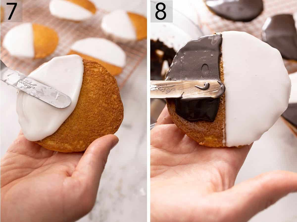 Set of two photos showing vanilla icing spread on half the cookie and chocolate on the other half.