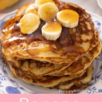 A pinterest graphic of banana pancakes