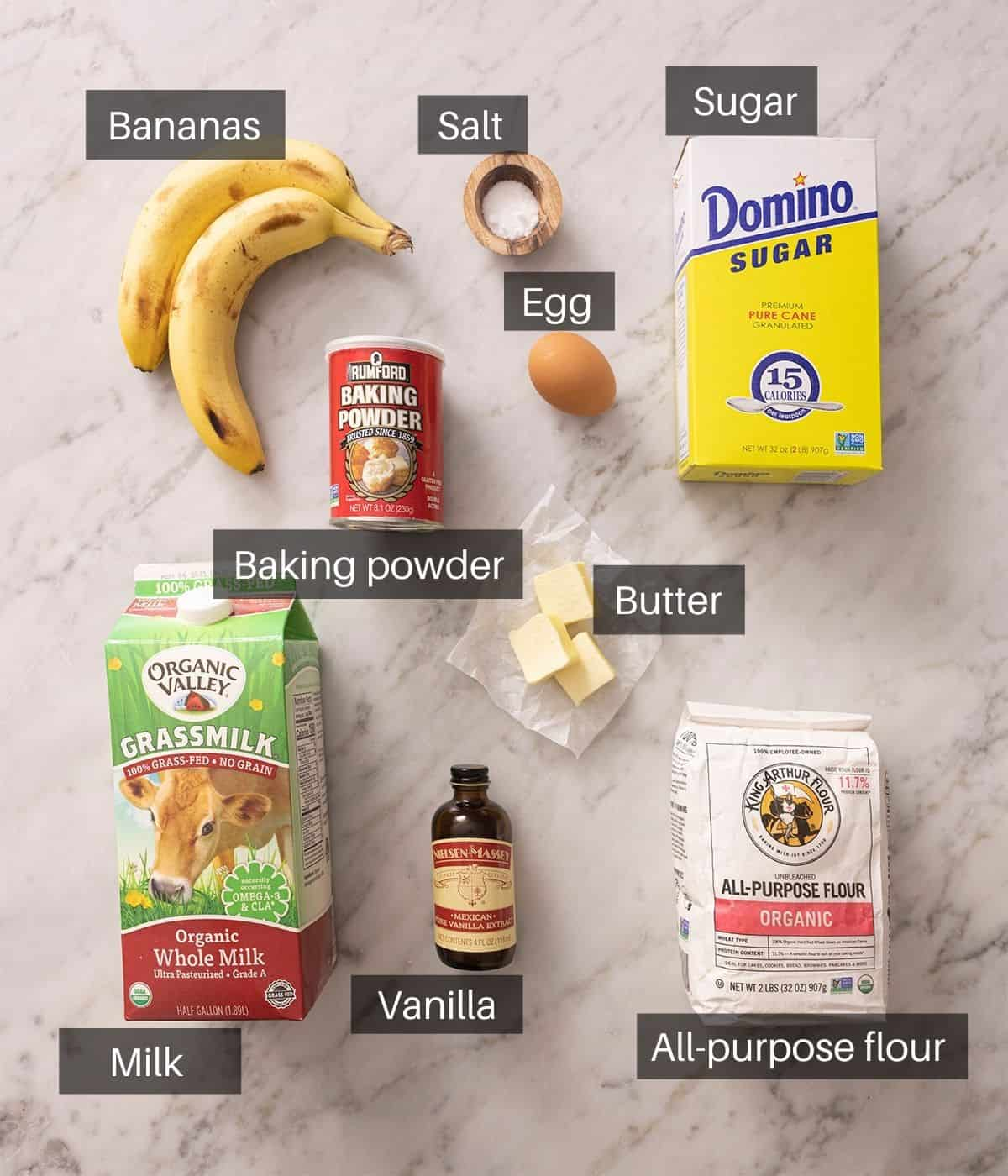 An overhead shot showing all the ingredients you need to make banana pancakes