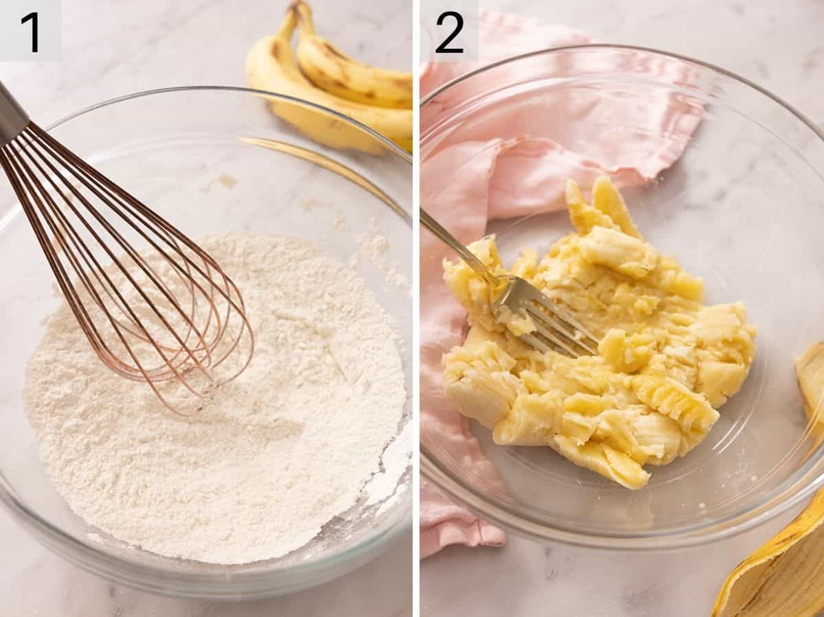 Two photos showing how to mix flour in a bowl and mash bananas
