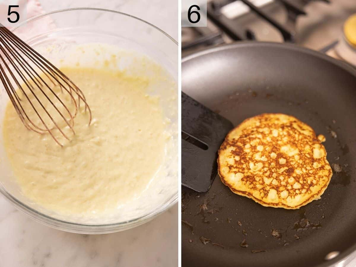 Two photos showing how to make banana pancakes