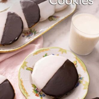 Pinterest graphic of a plate with black and white cookies with milk.