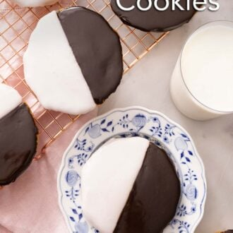 Pinterest graphic of black and white cookies on a cooling rack with one on a plate.