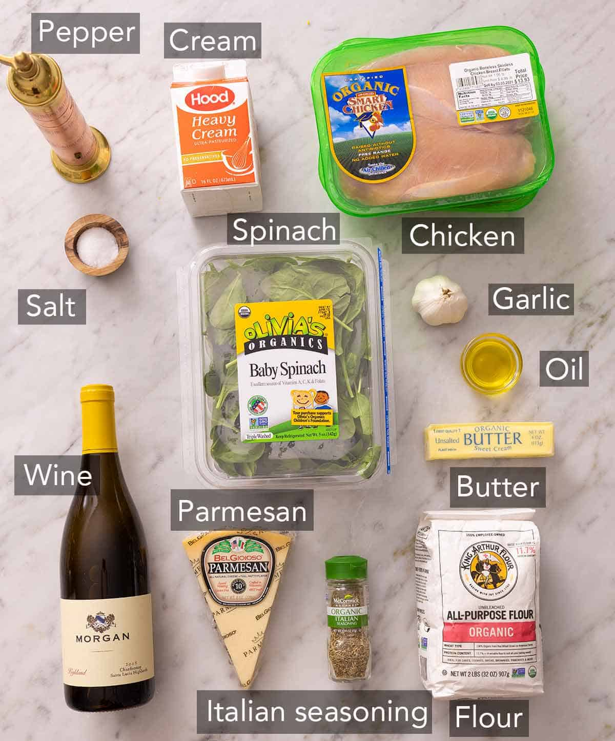 Ingredients needed to make chicken florentine.