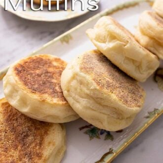 A pinterest graphic of English Muffins