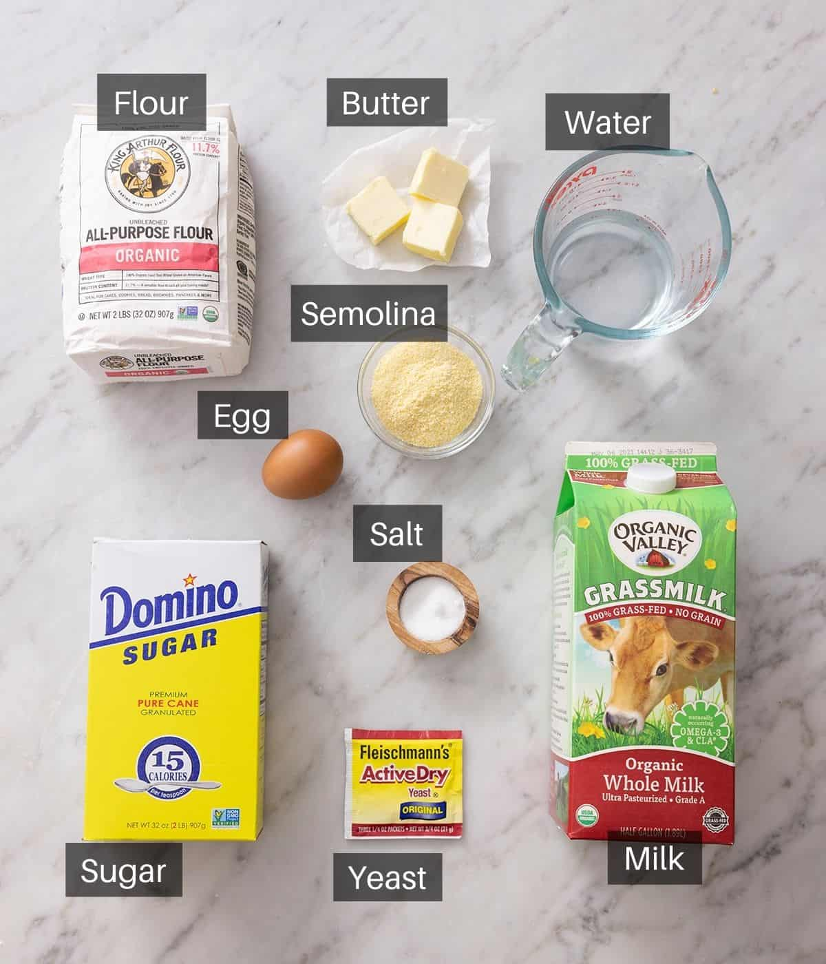 An overhead shot of all the ingredients you need to make English Muffins