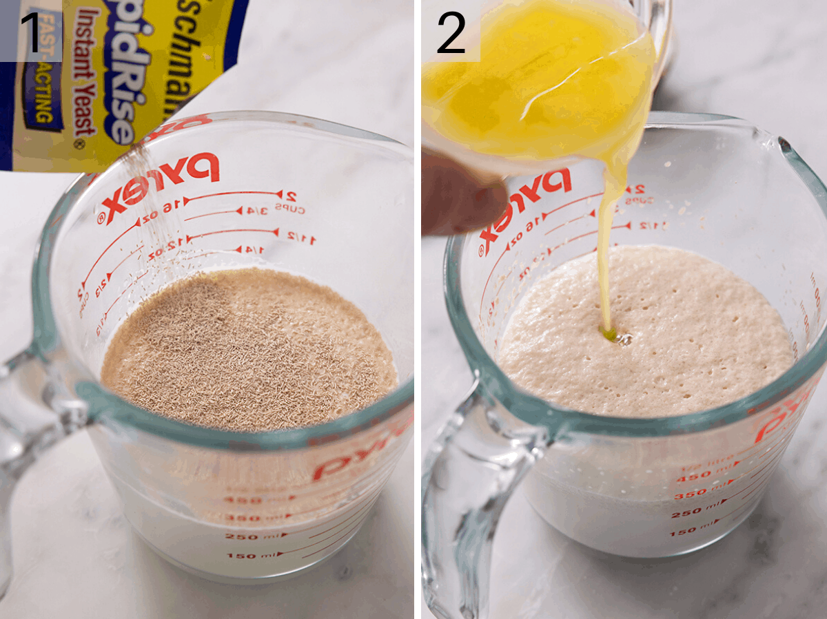 Two photos showing how to activate yeast