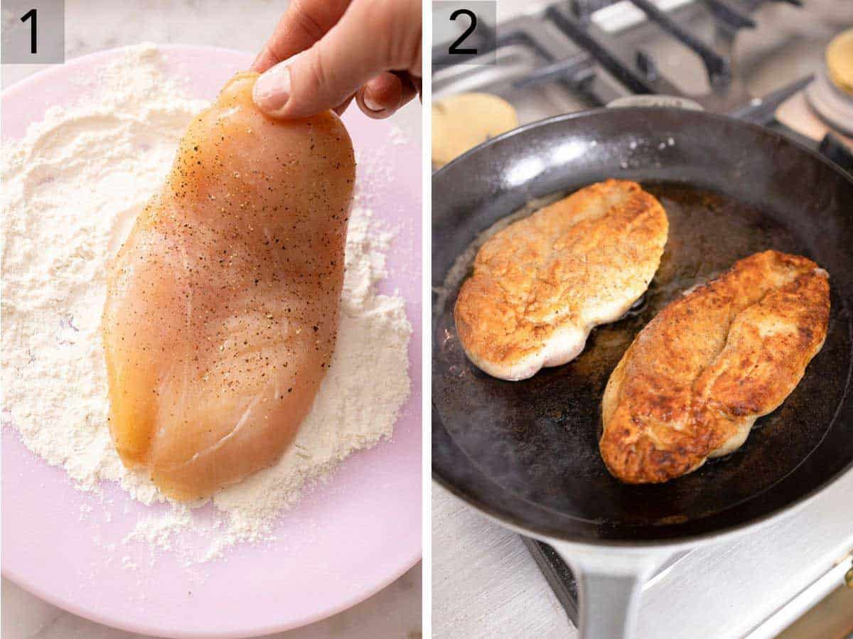 Set of two photos showing seasoned chicken being coated in flour and then seared on a frying pan.