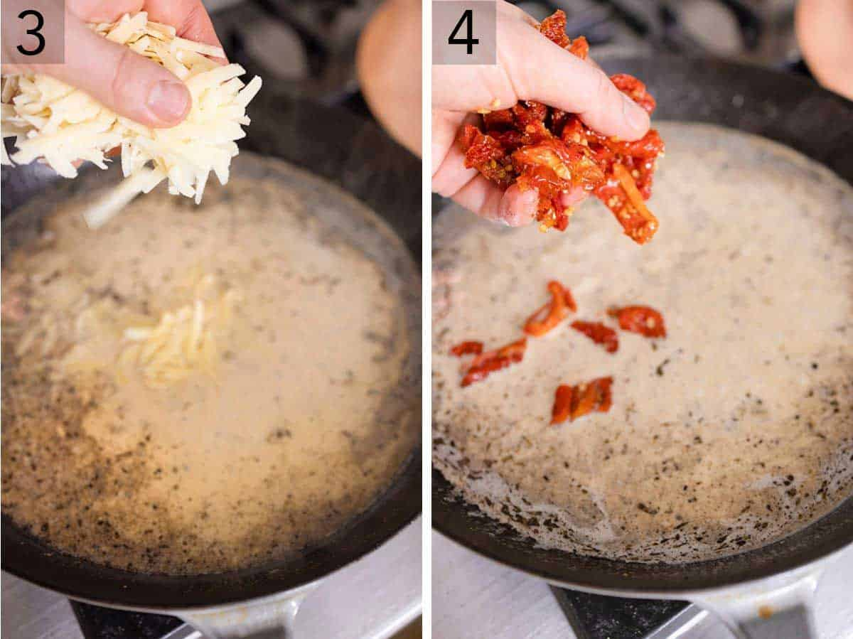 Set of two photos showing parmesan cheese added to the pan sauce and then sun-dried tomatoes.