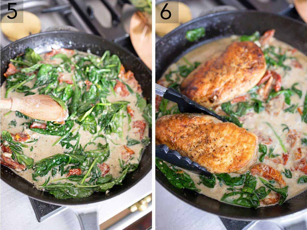 Set of two photos showing spinach being stirred into the pan sauce and then chicken breasts being added back in.