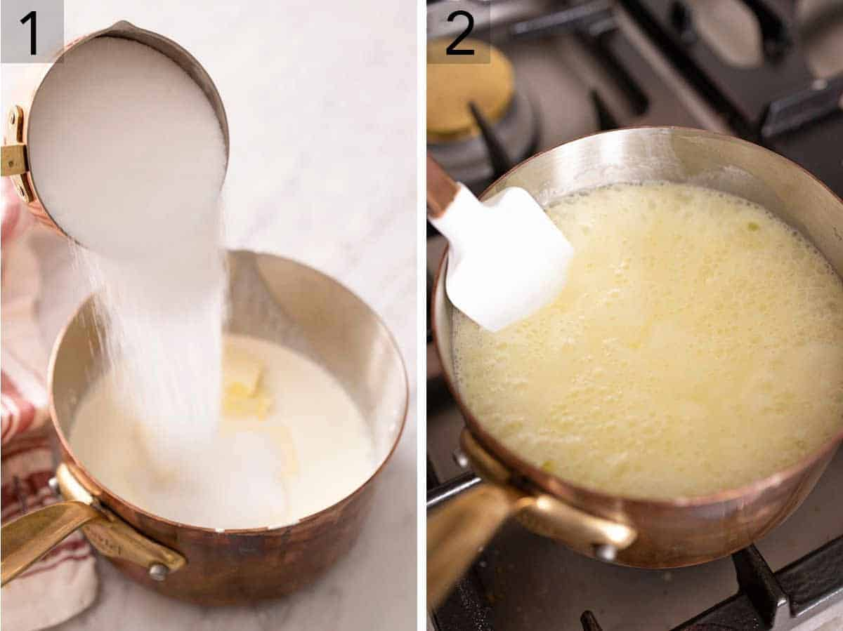 Set of two photos showing sugar being added to a sauce pan and being cooked on the stove.