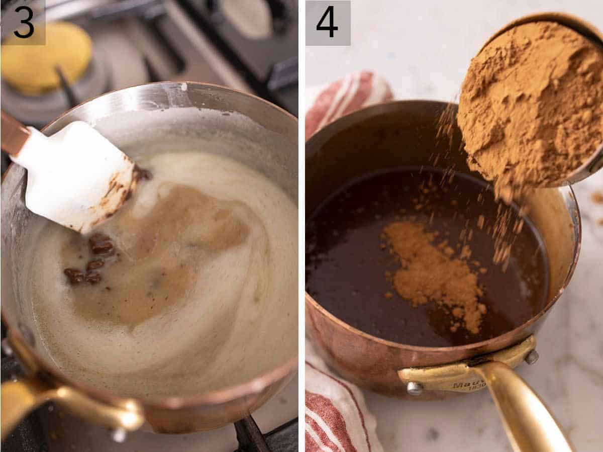 Set of two photos showing chocolate being melted in the sauce pan and then cocoa powder added.
