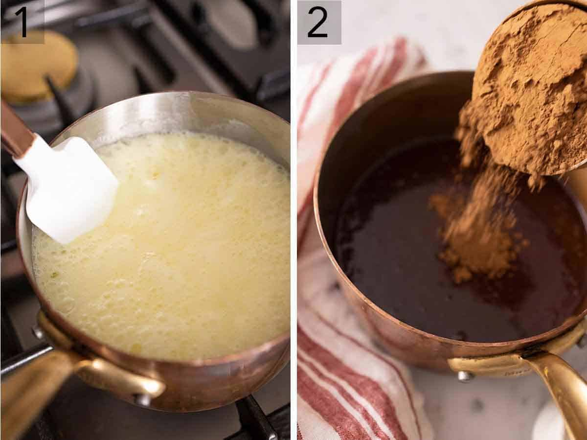 Set of two photos showing cream, sugar, salt, and butter cooking in a pot before adding chocolate.