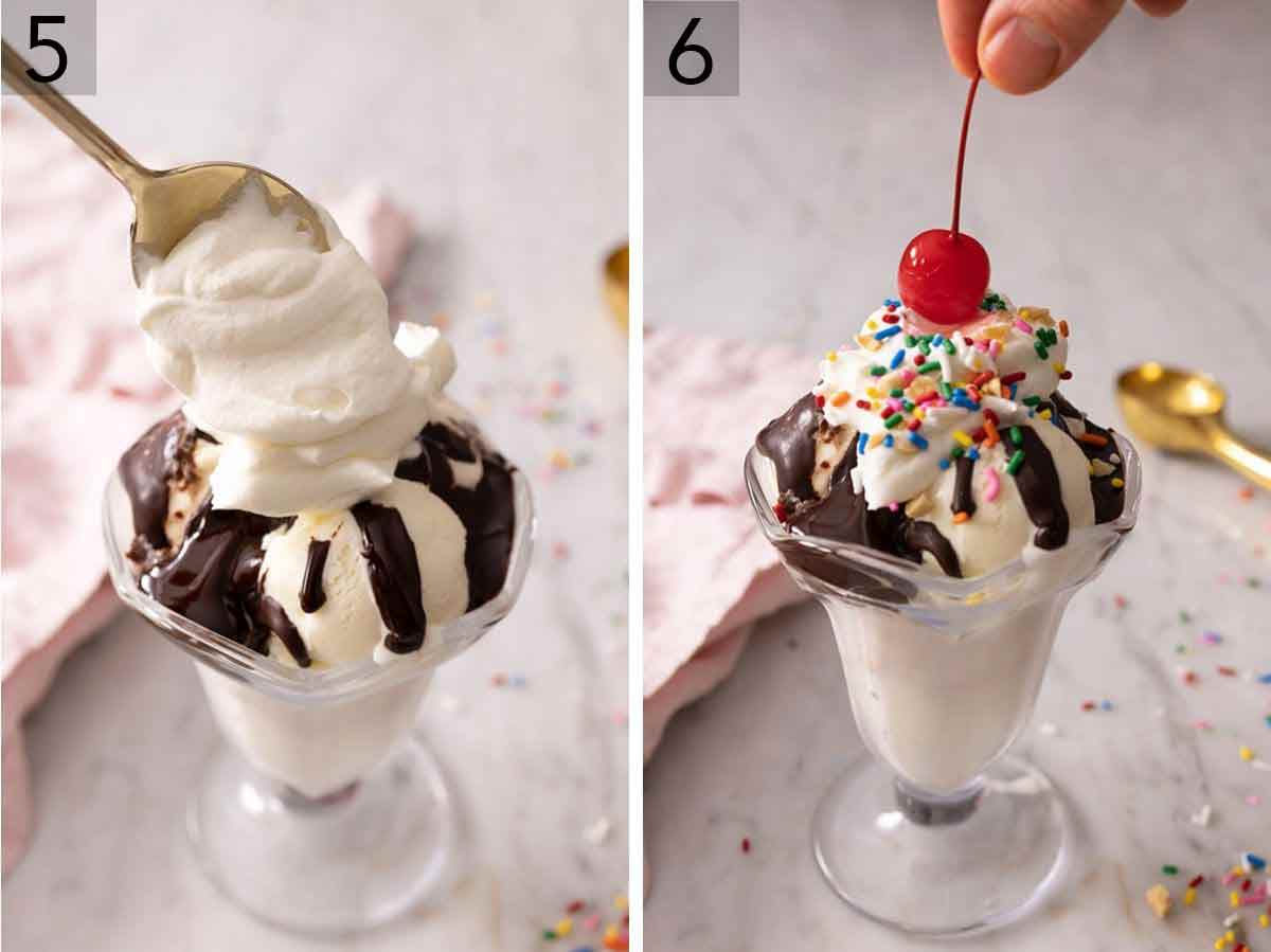 Set of two photos showing whipped cream added to a hot fudge sundae and topped with a cherry.