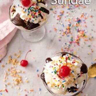 Pinterest graphic of an overhead view of sundaes with whipped cream, sprinkles, nuts, and a cherry.