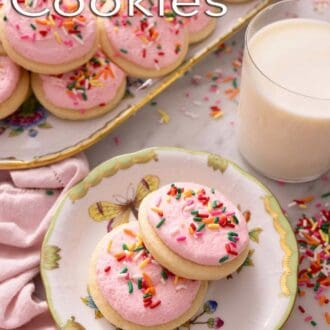 A pinterest graphic of Lofthouse cookies
