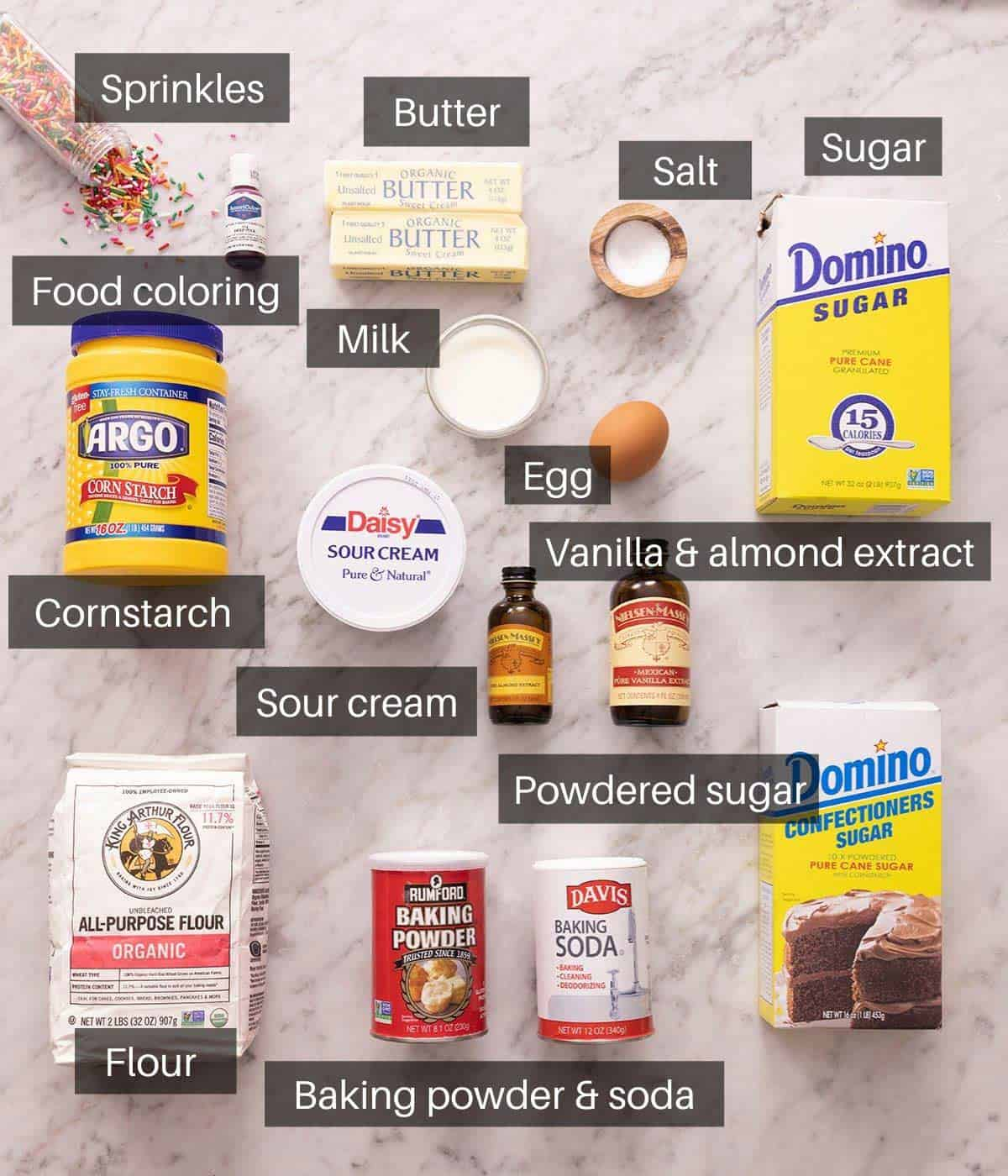 An overhead shot of all the ingredients you need to make lofthouse cookies