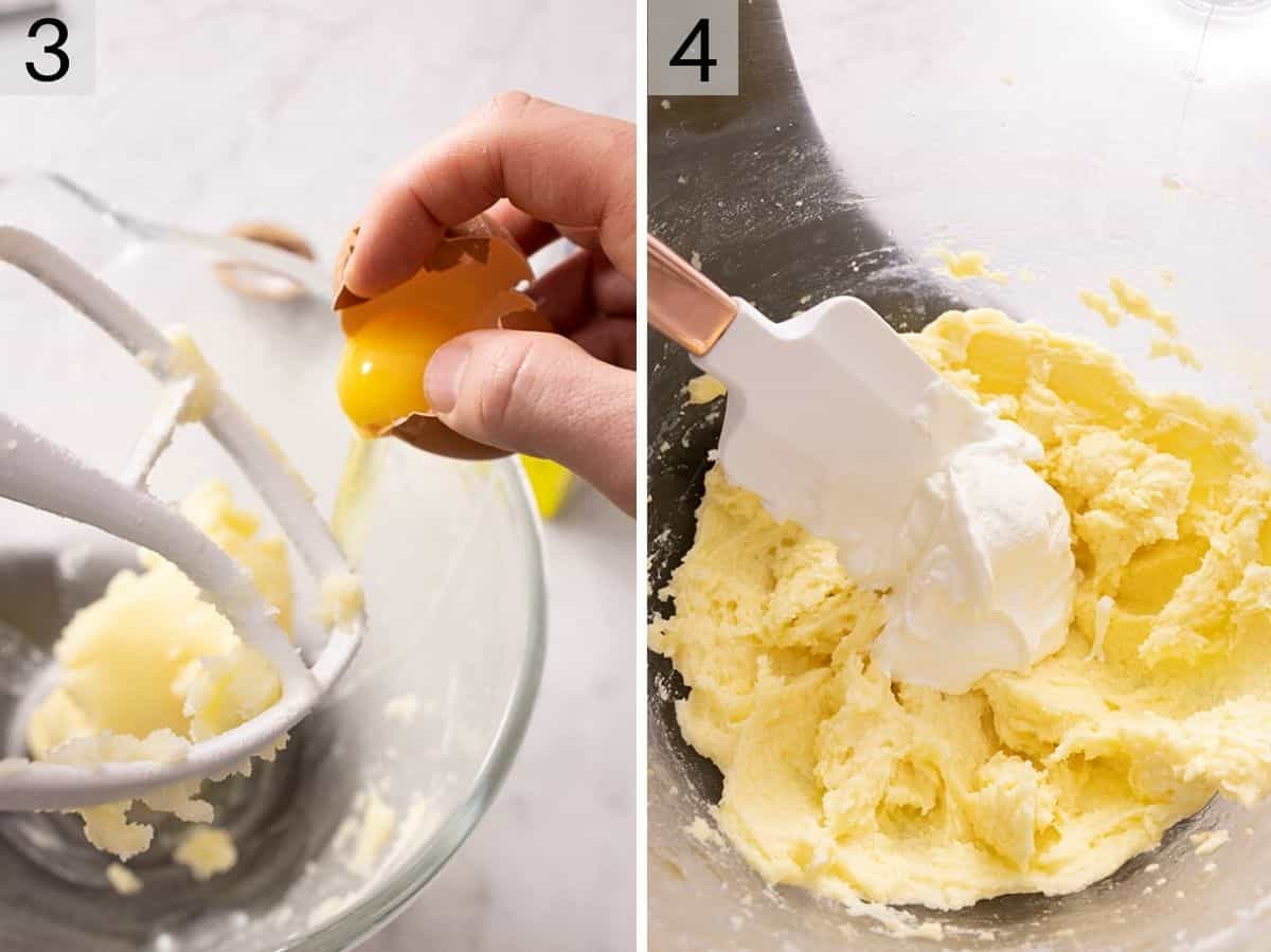 Egg and sour cream getting added to a butter mixture