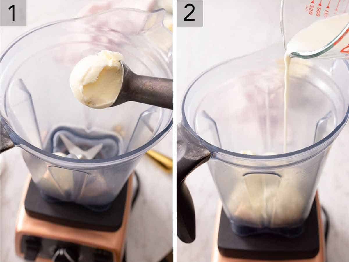 Set of two photos showing ice cream added to a blender and then milk.