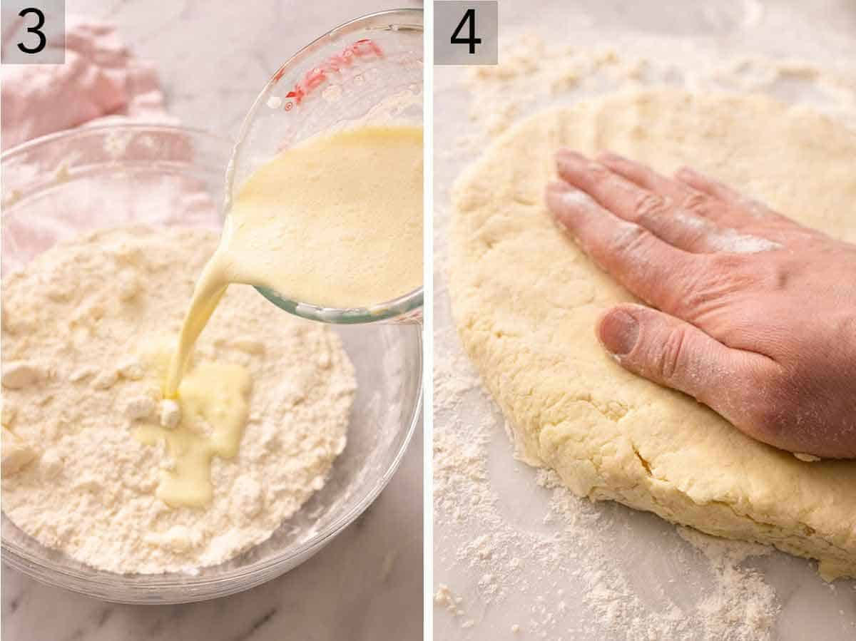 Set of two photos showing wet ingredients added to dry and then flattening the dough.