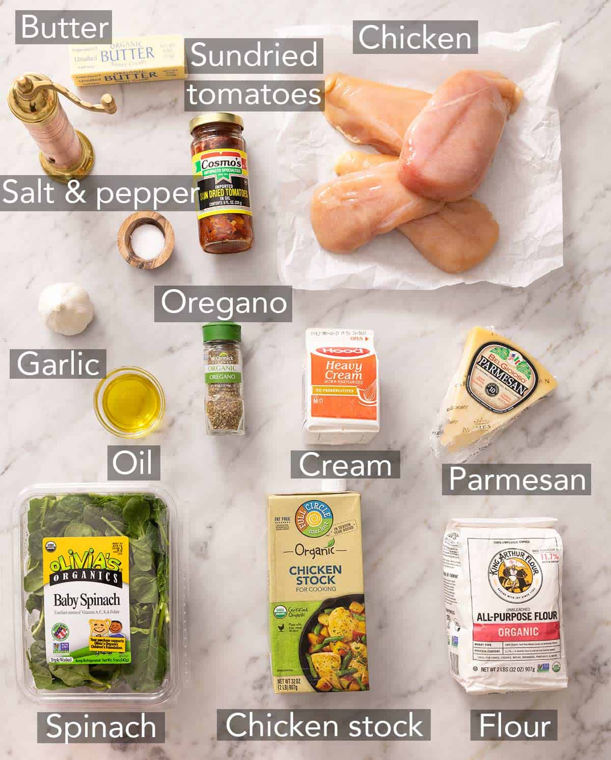Ingredients needed for Tuscan chicken.