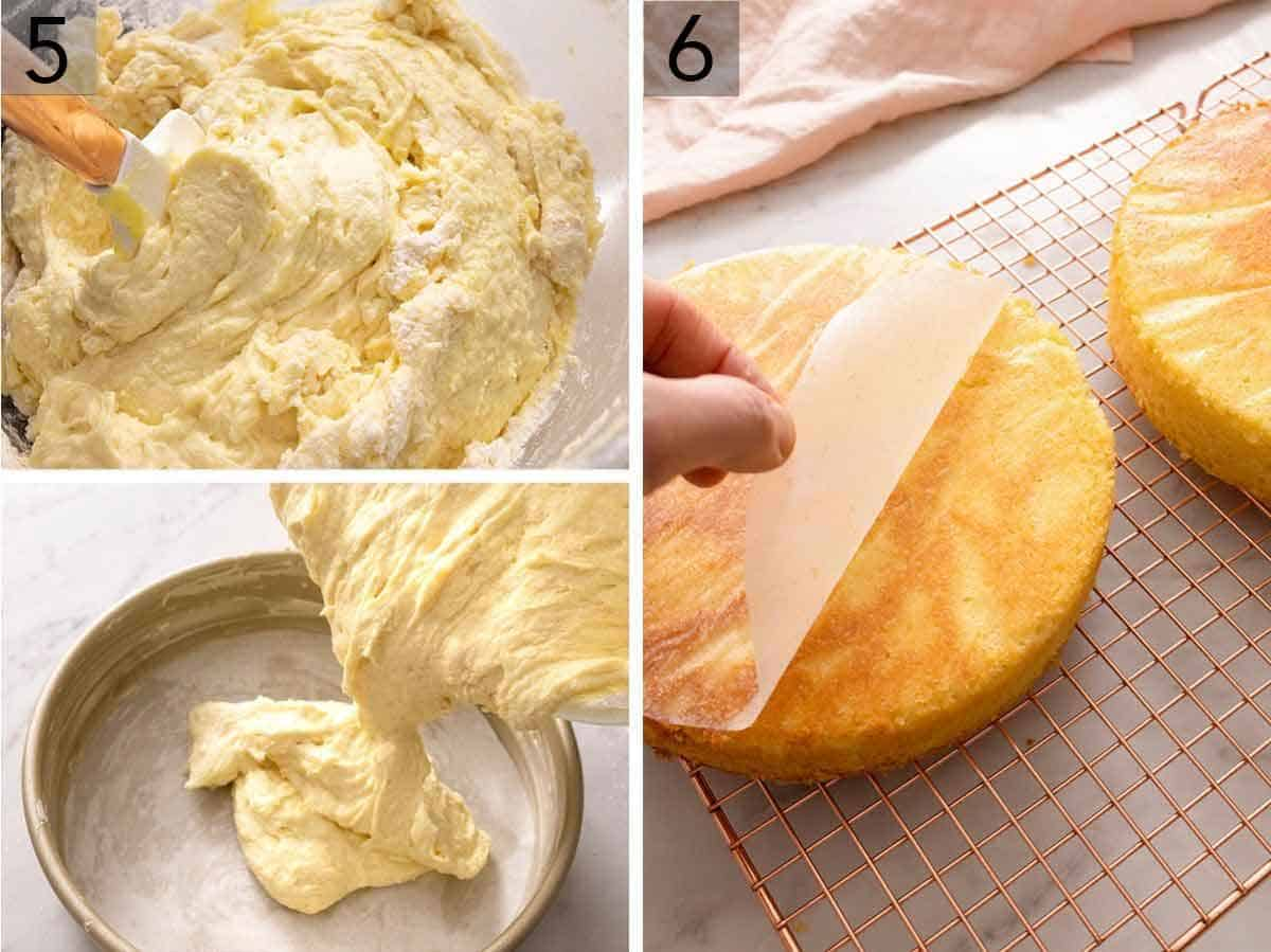 Set of three photos showing batter being folded with a spatula before being poured into a cake pan. Third image shows cakes cooling on a rack with a hand removing the parchment.