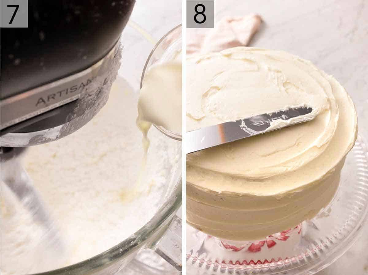 Set of two photos showing frosting being mixed and a cake being frosted.