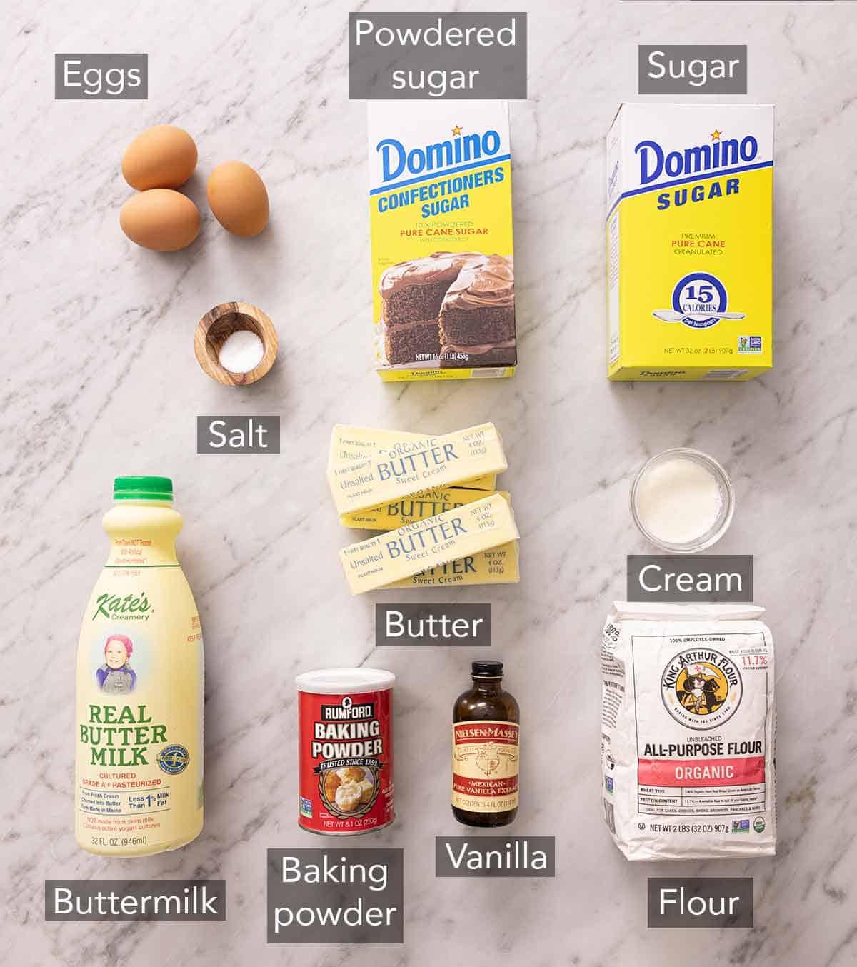 Ingredients for vanilla cake.
