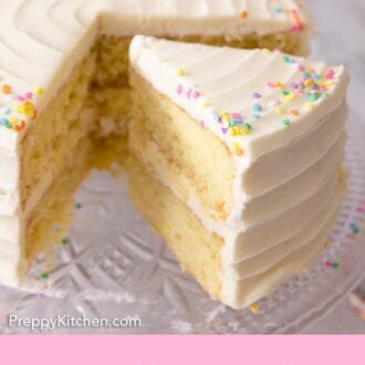 Pinterest graphic of a vanilla cake with a slice cut out and pulled forward.